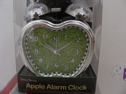 BN TWIN BELL GREEN APPLE ALARM CLOCK